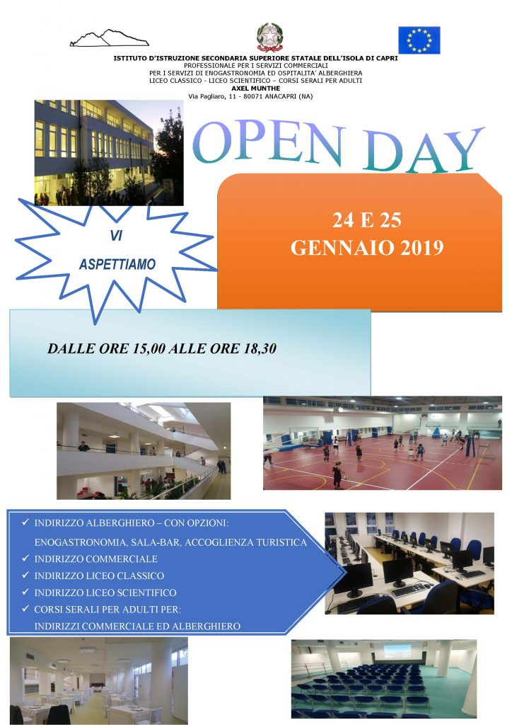 Scuola  il 24 e il 25 gennaio open day all istituto Axel Munthe dell isola  di Capri e4312d9f8bf