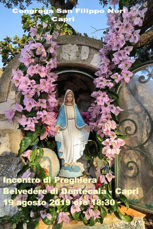 Congrega di San Filippo Neri, incontro di preghiera a Capri al belvedere di Dentecala