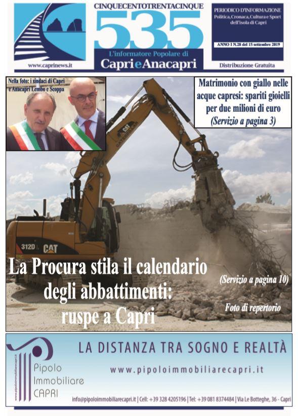 """In edicola il numero 28 di """"535-L'informatore popolare di Capri e Anacapri"""": la copertina e i principali argomenti"""