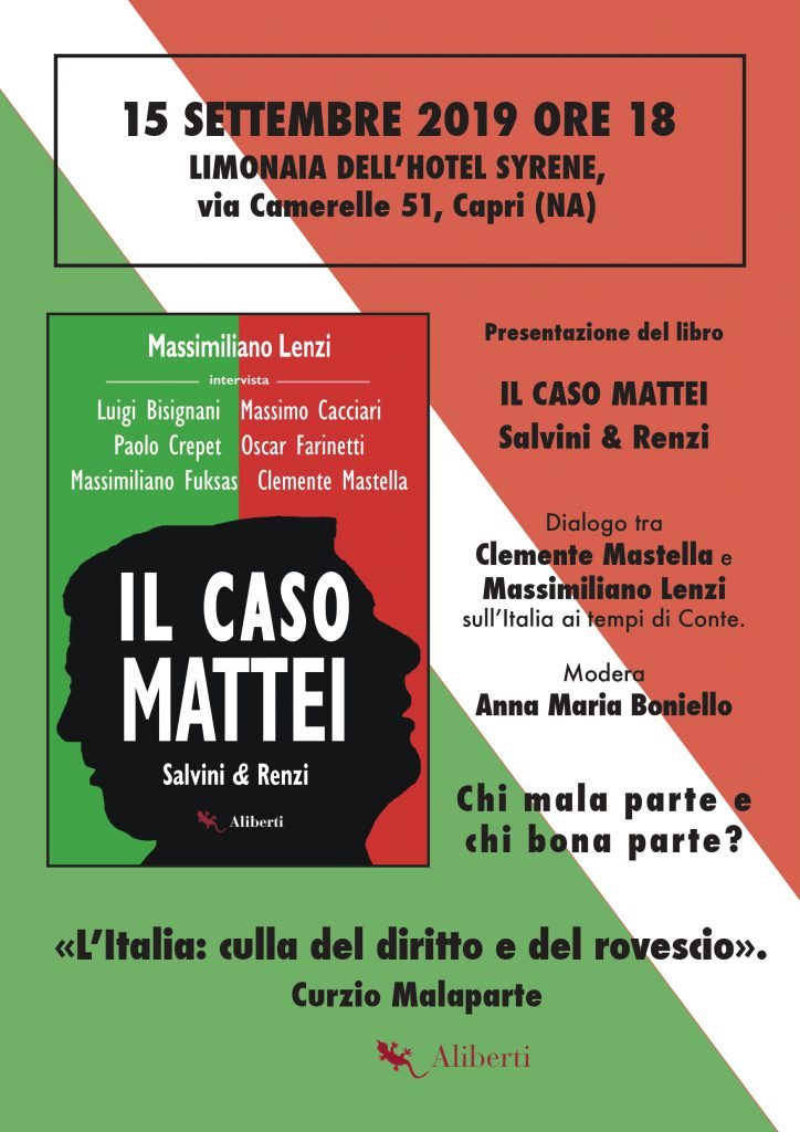 """A Capri si presenta il libro di Massimiliano Lenzi """"Il caso Mattei – Salvini & Renzi"""""""
