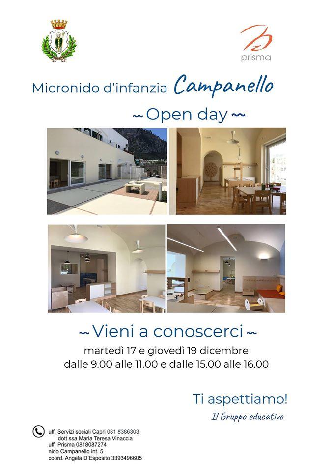 Open day il 17 e il 19 dicembre al micronido d'infanzia Campanello di Capri