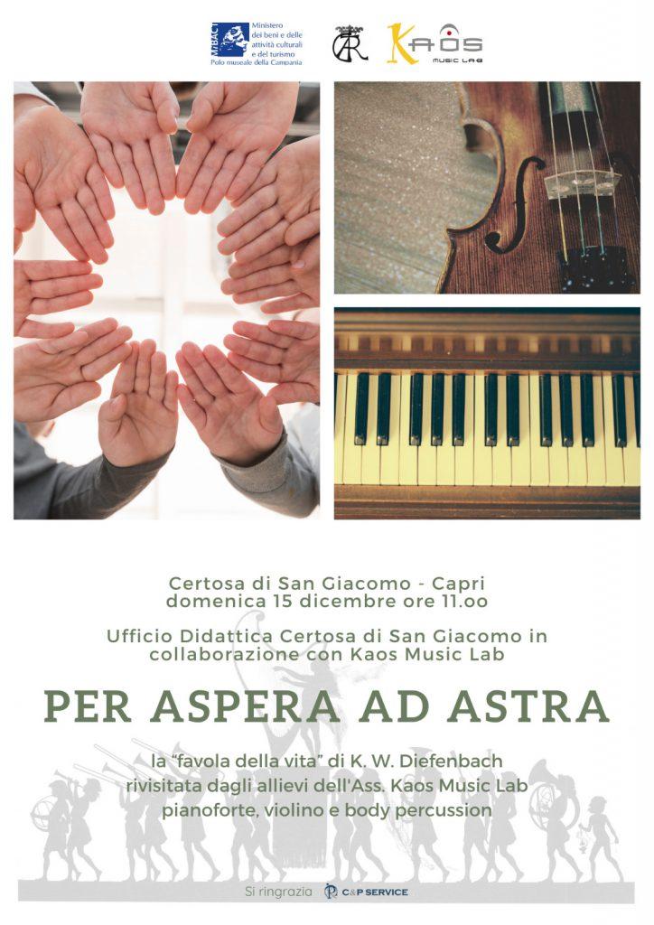 """""""Per aspera ad astra"""": alla Certosa di Capri la favola della vita di Diefenbach rivisitata dagli allievi di Kaos Music Lab"""