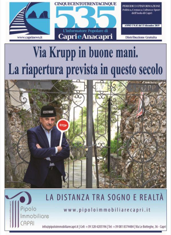 """In edicola il numero 41 di """"535-L'informatore popolare di Capri e Anacapri"""": la copertina e i principali argomenti"""