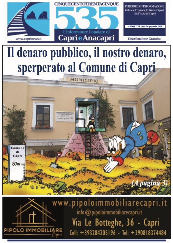 """In edicola il numero 3 del 2020 di """"535-L'informatore popolare di Capri e Anacapri"""": la copertina e i principali argomenti"""