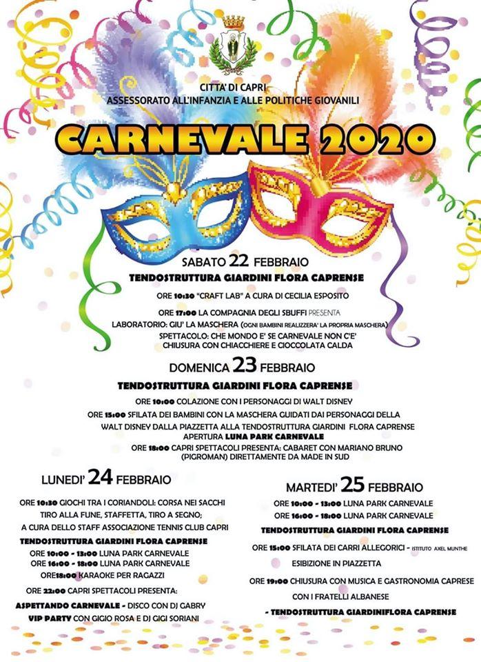 Carnevale a Capri: dal 22 al 25 febbraio carri allegorici, spettacoli, cabaret, giochi e gastronomia