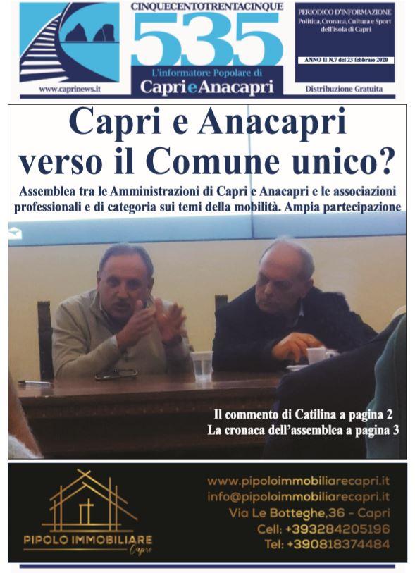 """In edicola il numero 7 del 2020 di """"535-L'informatore popolare di Capri e Anacapri"""": la copertina e i principali argomenti"""
