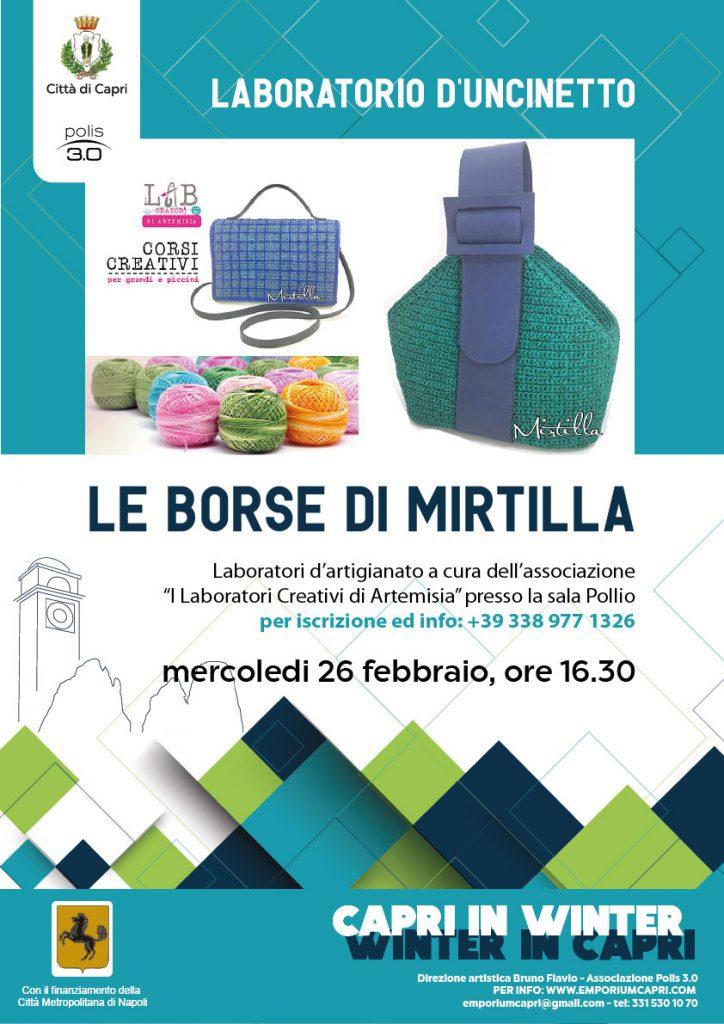 """Laboratori di uncinetto """"Le borse di Mirtilla"""" nell'ambito di """"Capri in winter"""""""