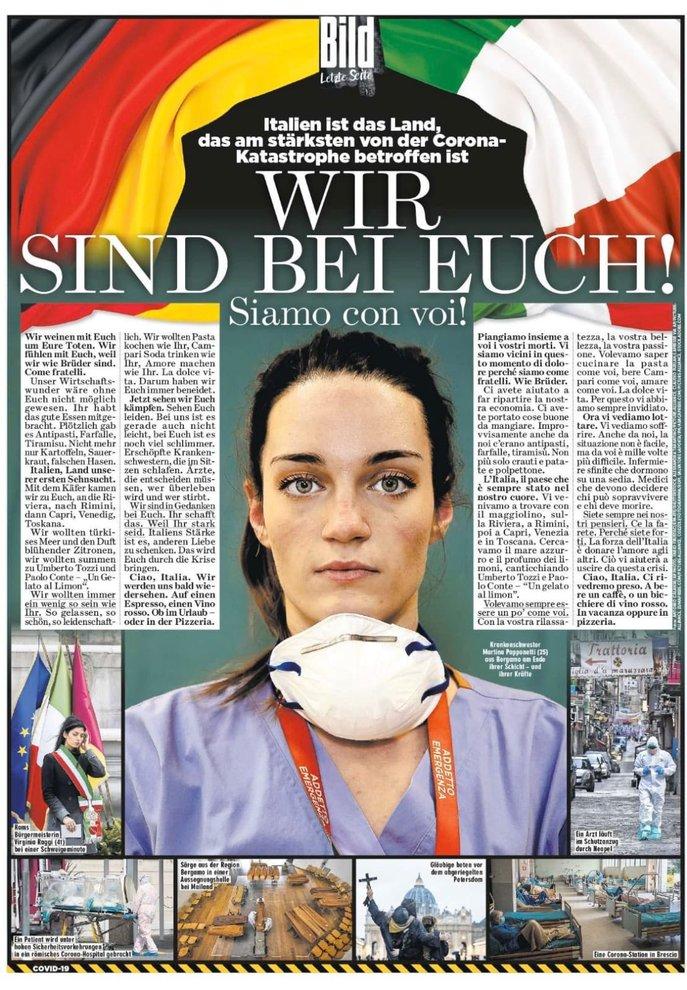 «Wir sind bei euch! Siamo con voi»: dedicata all'Italia una pagina intera della Bild, il tabloid più diffuso in Germania. C'è un passaggio anche su Capri, il mare azzurro e il profumo dei limoni