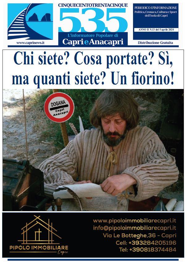 """In edicola il numero 13 del 2020 di """"535-L'informatore popolare di Capri e Anacapri"""": la copertina e i principali argomenti"""