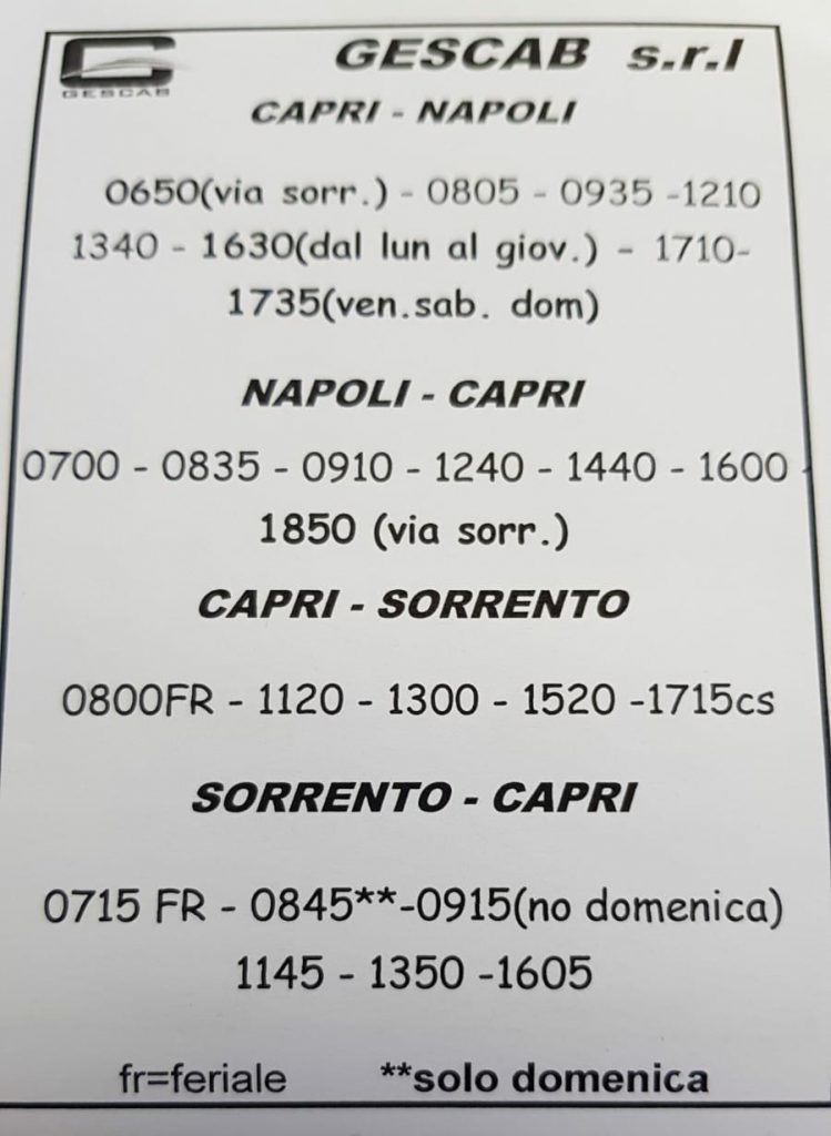 Collegamenti marittimi: resi noti i nuovi orari delle linee veloci per Capri