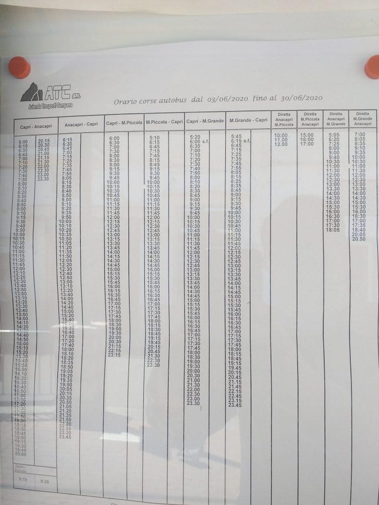 Autolinee a Capri: gli orari dei bus Atc in vigore dal 3 giugno