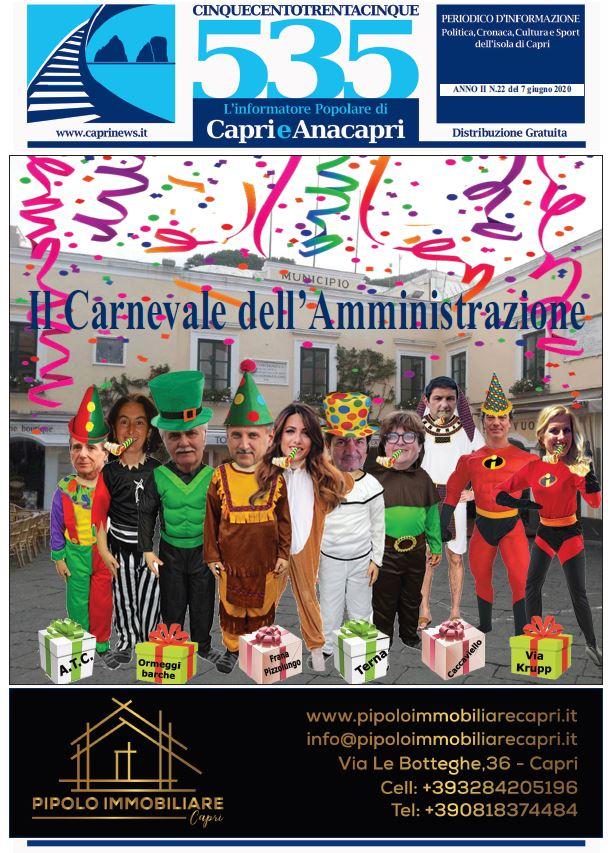 """In edicola il numero 22 del 2020 di """"535-L'informatore popolare di Capri e Anacapri"""": la copertina e i principali argomenti"""