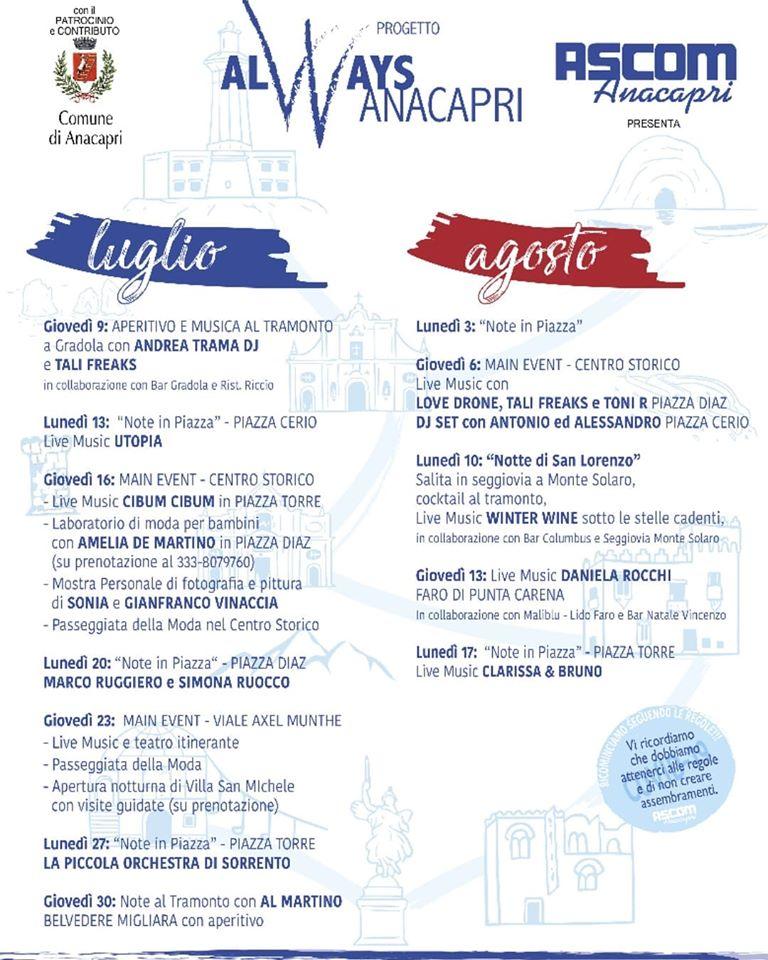 Estate: il programma degli appuntamenti e degli eventi di Anacapri promossi dall'Ascom