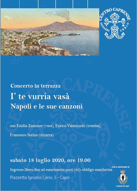 """A Capri torna la musica a Palazzo Cerio: sulla terrazza del museo il concerto """"I' te vurria vasà"""""""