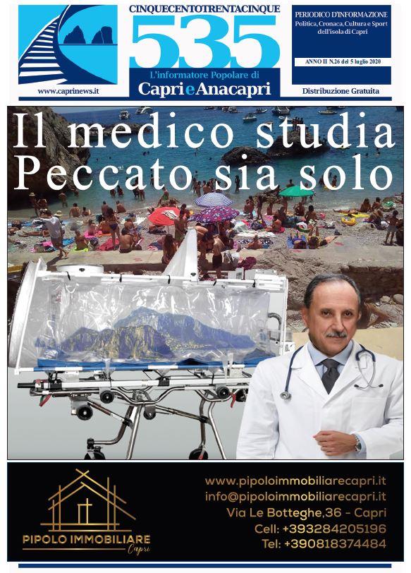 """In edicola il numero 26 del 2020 di """"535-L'informatore popolare di Capri e Anacapri"""": la copertina e i principali argomenti"""