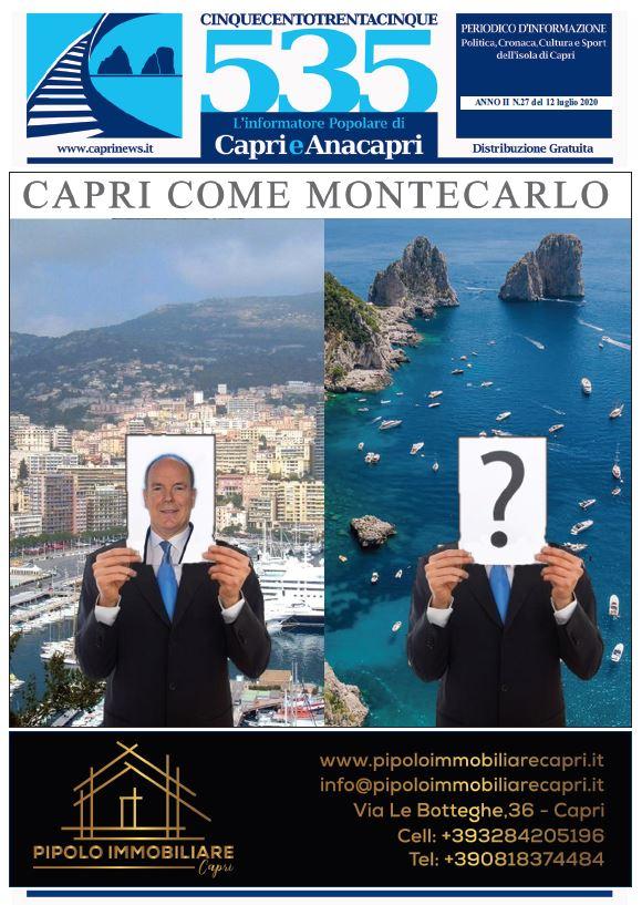 """In edicola il numero 27 del 2020 di """"535-L'informatore popolare di Capri e Anacapri"""": la copertina e i principali argomenti"""
