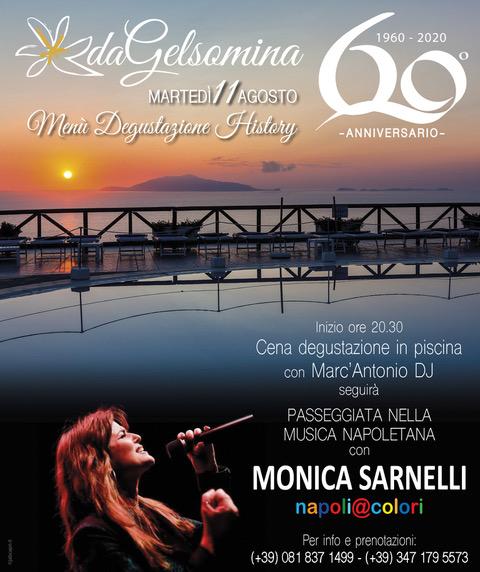 """Monica Sarnelli """"live"""" ad Anacapri in occasione della cena-evento per i 60 anni del ristorante Da Gelsomina, svelato anche il menu della serata"""
