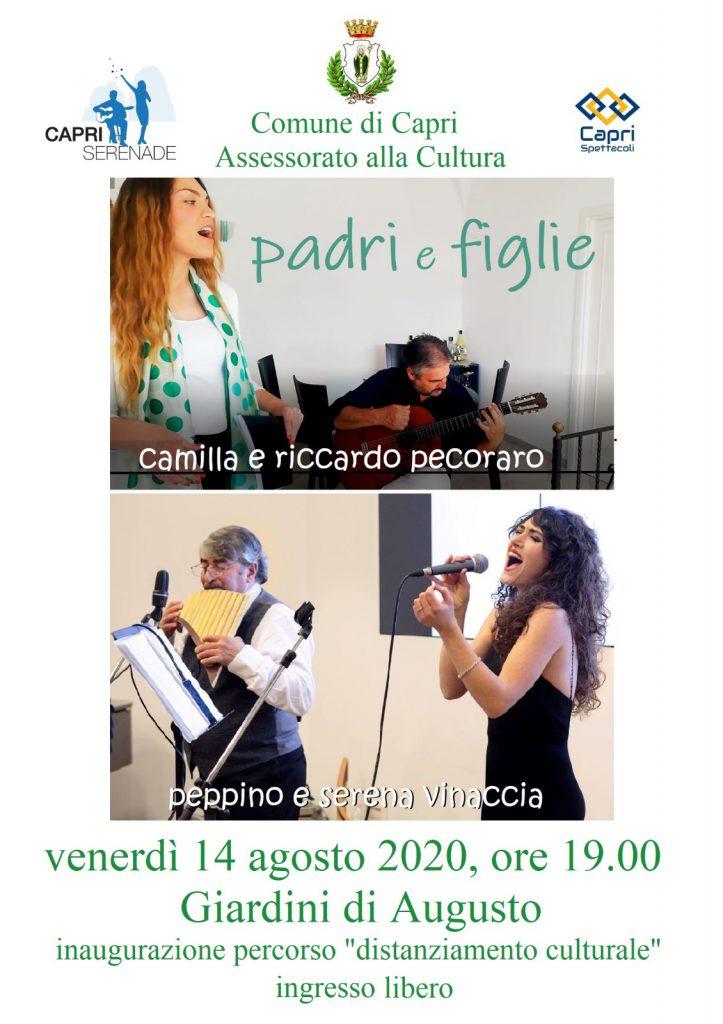 """Si inaugura a Capri ai Giardini d'Augusto il percorso """"distanziamento culturale"""", nell'occasione evento musicale """"Padri e figlie"""""""