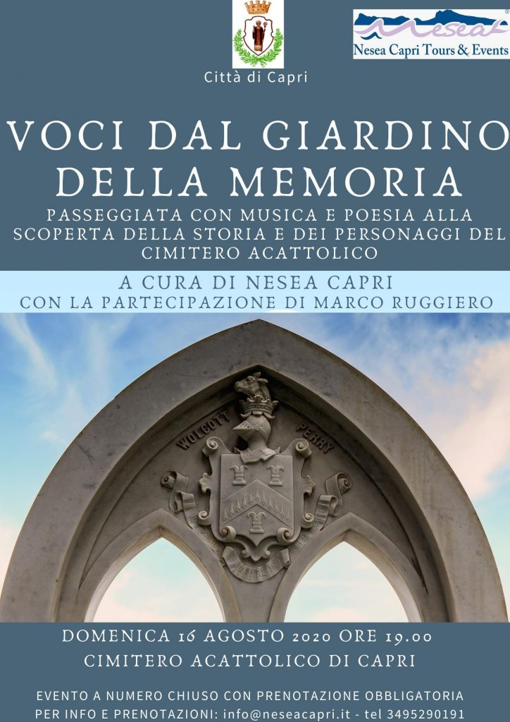 """""""Voci dal giardino della memoria"""", passeggiata con musica e poesia alla scoperta della storia e dei personaggi del cimitero acattolico di Capri"""