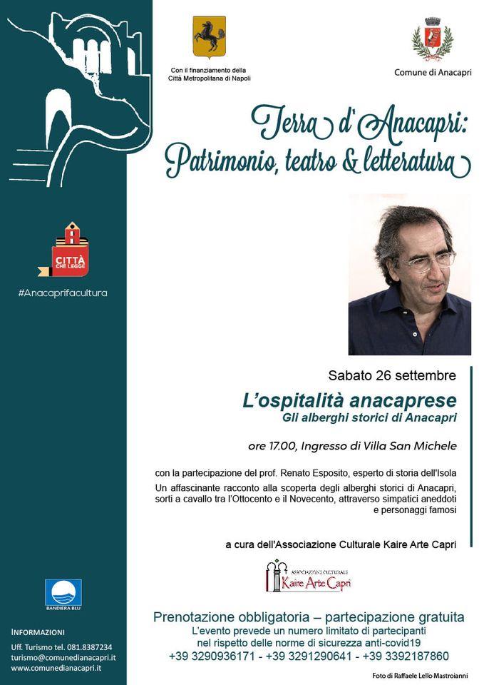 """E' ripartita alla grande la rassegna """"Terra d'Anacapri: patrimonio, teatro & letteratura"""", sabato i prossimi due appuntamenti"""