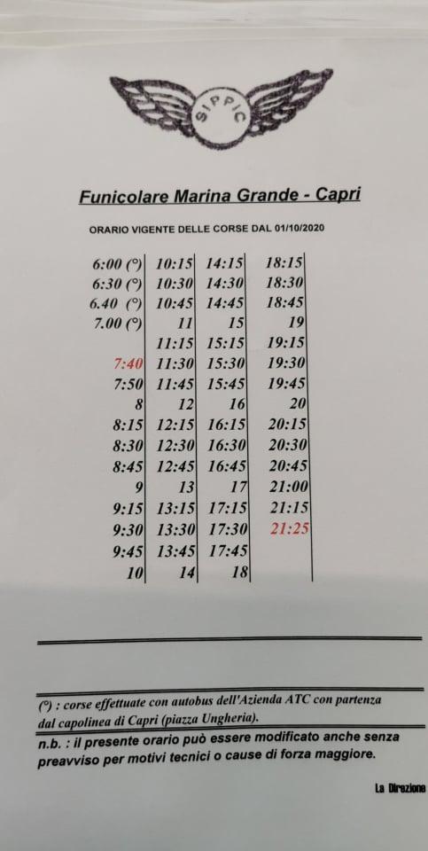 Cambiano gli orari della funicolare di Capri: prima corsa alle 7.40