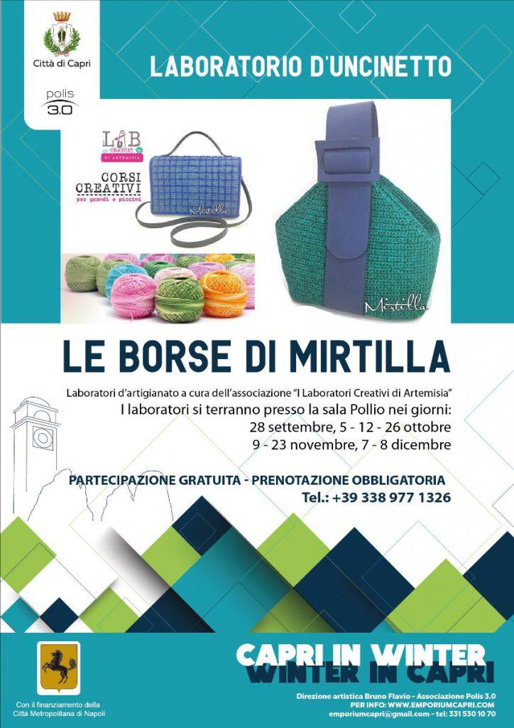 """Le borse di Mirtilla, ripartono i laboratori artigianali nell'ambito del progetto """"Capri in winter"""""""