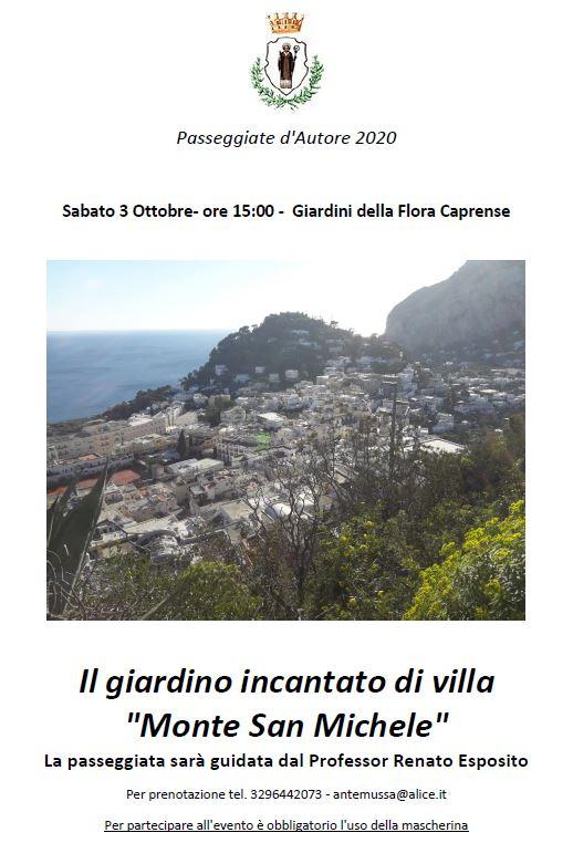 Alla scoperta del giardino incantato di Villa Monte San Michele a Capri, passeggiata guidata con il prof Renato Esposito