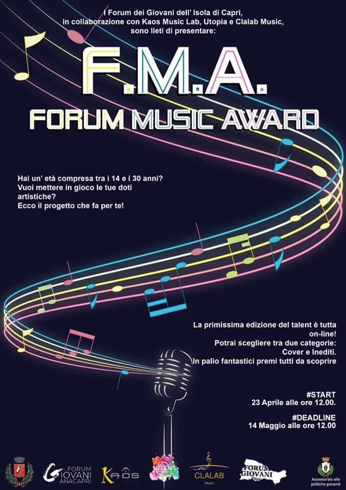 """Parte il """"Forum Music Award"""", talent online rivolto a tutti i giovani dai 14 ai 30 anni dell'isola"""